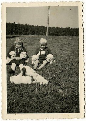 7 Welpen, 2 Kinder, 4 Arme, Orig.-Photo um 1950
