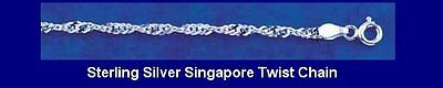 """10 Sterling Silver 2.4mm Singapore Twist 18"""" Chains"""