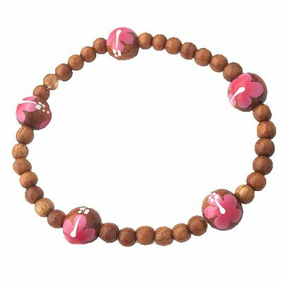 Hawaiian Jewelry Koa Wood Bead Pink Hibiscus Handpainted Flower Bracelet
