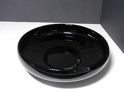 "Black Amethyst Cupped Rim Rayed Foot Bowl 8"" D"