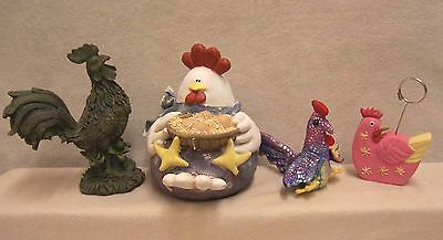 4 Roosters - 2 Figurines 1 Stuffed 1 Note Holder