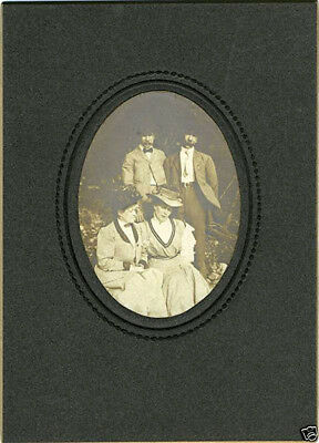 Lovely Victorian Era Antique Outdoor Photo Portrait Of Two Men With Two Women