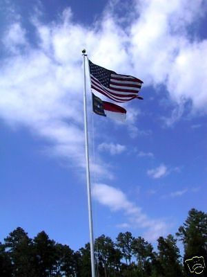 25' Flagpole silver aluminum super heavy duty and free American Flag 14 gauge