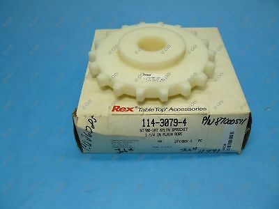 "Rexnord 114-3079-4 N7700 Nylon Table Top Chain Sprocket 1-1/4"" Bore 18T 5.78"" OD"