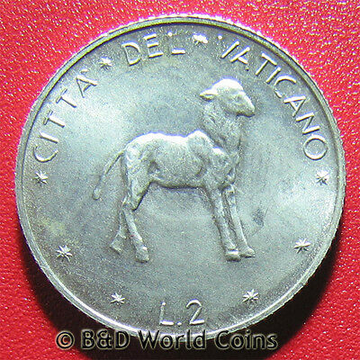 VATICAN CITY 1970 2 LIRE LAMB PAUL VI 18mm ALUMINUM COLLECTABLE WORLD COIN