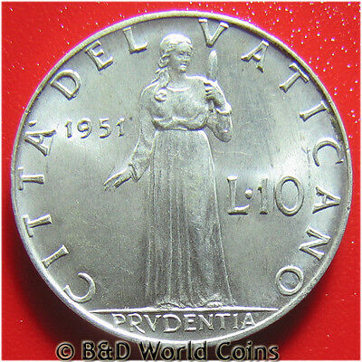 2 Lire 1951 Vatican Italy Unc World Coin Pope Pius Fortude with Lion Italian