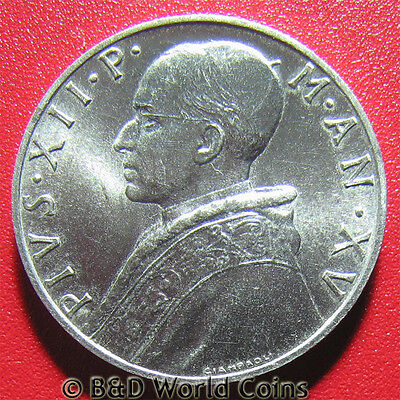 VATICAN CITY 1953 10 LIRE PRUDENTIA POPE PIUS XII 23mm ALUMINUM COLLECTABLE COIN
