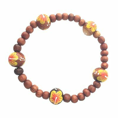 Hawaiian Jewelry Koa Wood Bead Yellow Flower Elastic Bracelet from Hawaii
