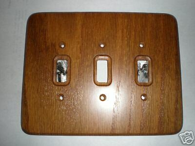Dark Solid Wood Oak 3 Toggle Wall Switch Plate Cover