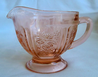 Federal Glass Co. Sharon Cabbage Rose Pink Footed Creamer!