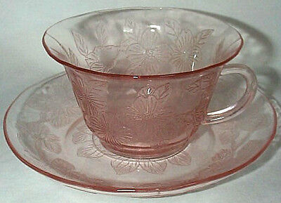 MACBETH EVANS GLASS CO. DOGWOOD APPLE BLOSSOM PINK THIN-STYLED CUP & SAUCER SET
