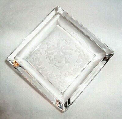 """HEISEY ORCHID CRYSTAL 3"""" SQUARE INDIVIDUAL ASHTRAY!"""