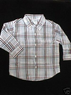 NWT Gymboree ICE PATROL Blue, Red, White Plaid Button-Up Shirt 24 mo 2T