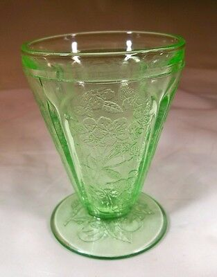 Jeannette Glass Co. Cherry Blossom Green 4-Ounce Footed Juice Tumbler!