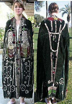 1950s spectacular Afghani Woman's wedding cape embroidered with silver ornaments