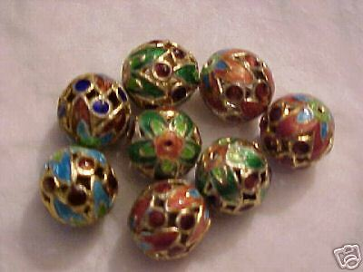 35  Blue, Green & Brown 13mm Cloisonne Beads.   RK5