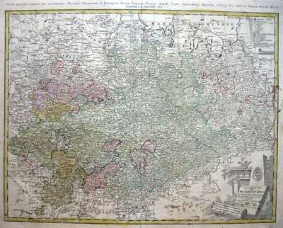 1783 SAXONY Elbe River GERMANY * HOMANN HEIRS 46x58cm ORIGINAL DETAILED!