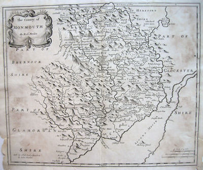 c1710 MONMOUTH COUNTY Severn River WALES * Robt. Morden ORIGINAL copperplate