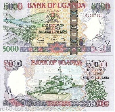 UGANDA 5000 Shillings Banknote World Paper Money UNC Currency Pick p44c 2008
