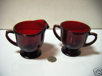 vintage ruby red creamer & double handle suger Mint See
