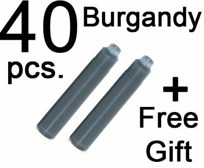 40 Fountain Pen Ink Cartridges refill BURGANDY + GIFT