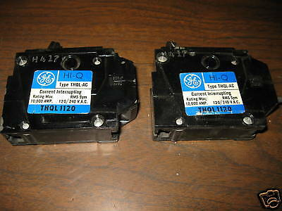 (2) General Electric GE Breaker THQL1120 20A A 20 Amp 1P TYPE THQL-AC LOT OF 2