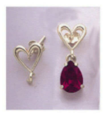 Two Solid Silver Heart Earring Dangle With Loop Studs