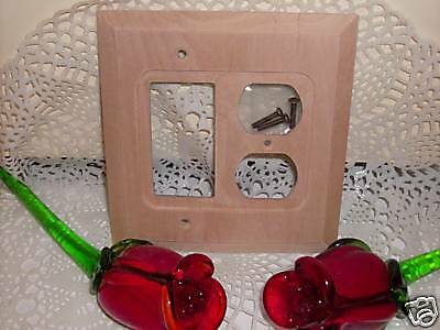Unstained Light Oak Switchplate Combo Rocker GFI Duplex Wood Outlet light cover