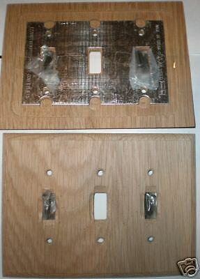 Pair of Unstained Oak 3 Toggle Wall Plate Device Switch Outlet Covers New