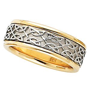 7mm Celtic-Insipired Two-Tone 14KT Gold Band Sz 7.5-9