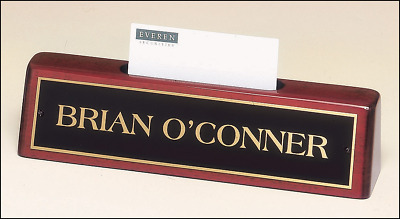Mahogany Finish Desk Name Plate Business Card Holder