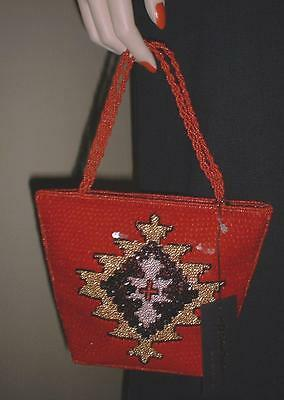 Inge Christopher Red Gold Black Beaded Art Deco Style Evening Bag Purse NWT