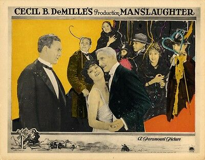MANSLAUGHTER (1922) Lobby card elegantly colored, decoupage-style artwork FINE
