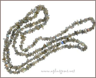 """Beautiful 35"""" Labradorite Chip Necklace  -Ready to wear"""