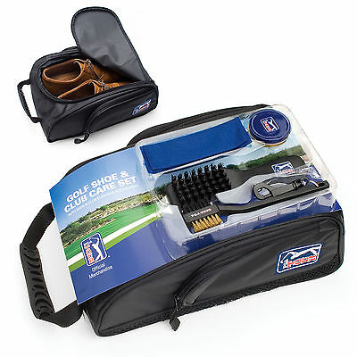PGA Tour Golf Shoe Bag + Club Cleaning Accessories Handle Zip Vented Brush Divot