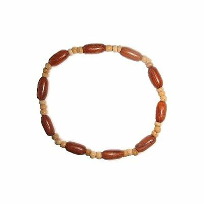 Hawaiian Jewelry Koa Wood Rice Bead and Coconut Bead Elastic Hawaii Bracelet