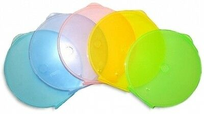 200-Pak COLORED Round-Shaped CD/DVD Clamshell Cases, 5 Asst. Colors, Clearance!
