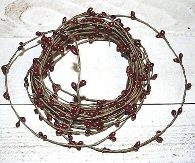18ft Primitive BURGUNDY Pip BERRY ROPE GARLAND - single ply