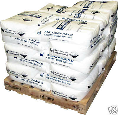 1000 lb Sodium Hydroxide Caustic Soda Micropearls NaOH 20 x 50 lb Bags Lye Soap