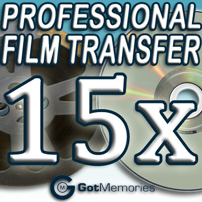 15X 5INCH 200FT 8MM 16MM SUPER 8 MOVIE FILM TO DVD $420
