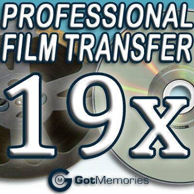 19X 5INCH 200FT 8MM 16MM SUPER 8 MOVIE FILM TO DVD $532