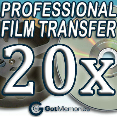 20X 5INCH 200FT 8MM 16MM SUPER 8 MOVIE FILM TO DVD $560