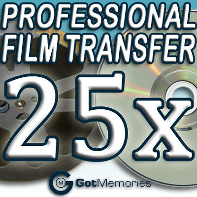 25X 5INCH 200FT 8MM 16MM SUPER 8 MOVIE FILM TO DVD $700