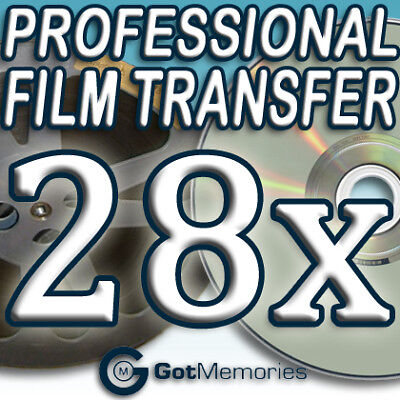 28X 5INCH 200FT 8MM 16MM SUPER 8 MOVIE FILM TO DVD $784