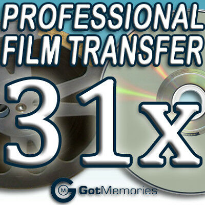 31X 5INCH 200FT 8MM 16MM SUPER 8 MOVIE FILM TO DVD $868