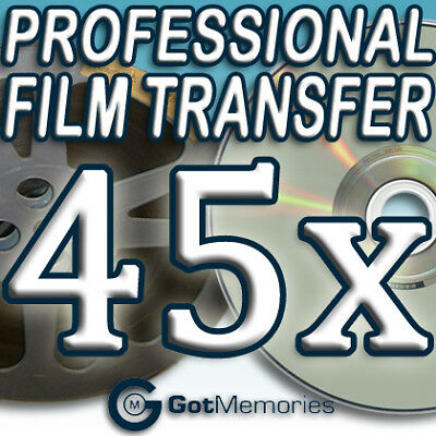 45X 5 IN 200FT 8MM 16MM SUPER 8 MOVIE FILM TO DVD $1260