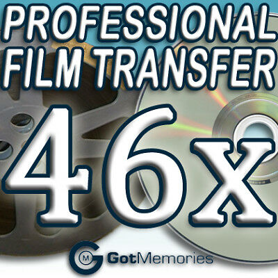 46X 5INCH 200FT 8MM 16MM SUPER8 MOVIE FILM TO DVD $1288
