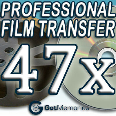 47X 5INCH 200FT 8MM 16MM SUPER8 MOVIE FILM TO DVD $1316
