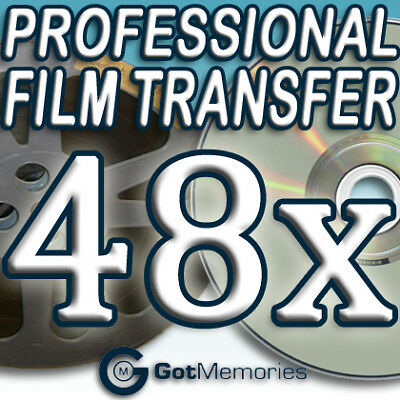 48X 5INCH 200FT 8MM 16MM SUPER8 MOVIE FILM TO DVD $1344