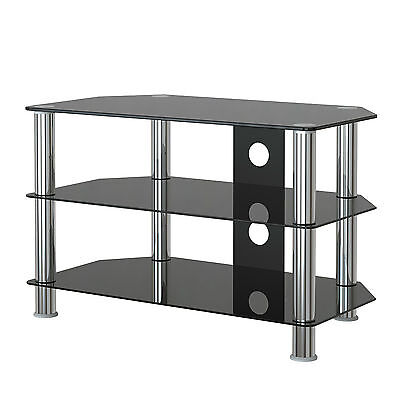 "Black 3-Tier Glass TV Stand 15-37"" Plasma LCD LED Flat SAMSUNG SONY LG"